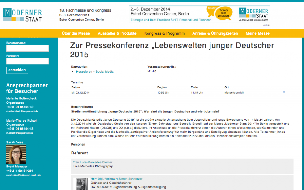 """Pressekonferenz """"Junge Deutsche 2015"""""""